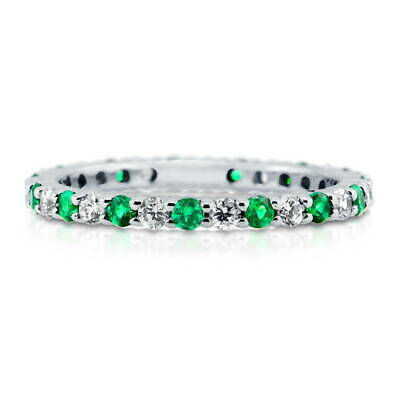 BERRICLE Sterling Silver Simulated Emerald CZ Eternity Band Ring 0.84 Carat