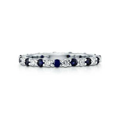 BERRICLE 925 Silver Simulated Blue Sapphire CZ Eternity Band Ring 0.84 Carat