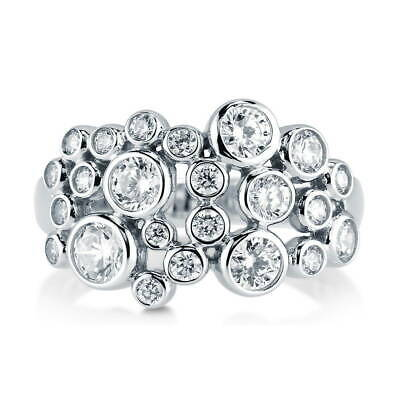 BERRICLE Sterling Silver Cubic Zirconia Bubble Cocktail Fashion Right Hand Ring