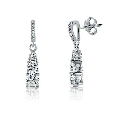 BERRICLE Sterling Silver 3-Stone Wedding Earrings Made with Swarovski Zirconia