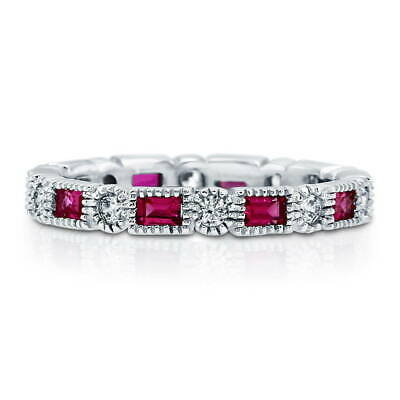BERRICLE 925 Silver Simulated Ruby CZ Art Deco Eternity Band Ring 1.26 Carat