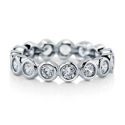BERRICLE Sterling Silver CZ Bubble Anniversary Wedding Eternity Band Ring