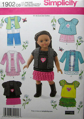 """SIMPLICITY 1902 Sewing Pattern Doll Clothes for 18"""" dolls"""