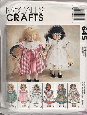 McCALL'S 645 ~ CLOTHES FOR 18' DOLLS - 1998 UNCUT PATTERN