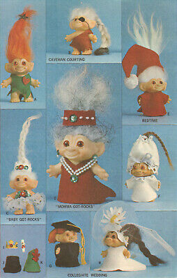 "Vtg 1960s Pattern for 3"" Troll Dolls Clothing"