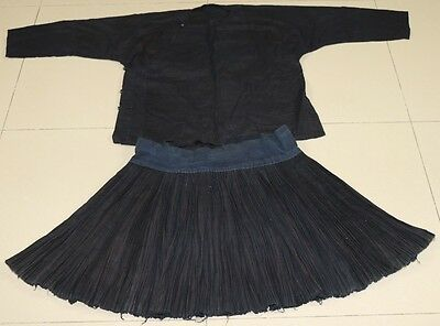 Vintage tribal chinese minority people's old hand local cloth robe skirt one set