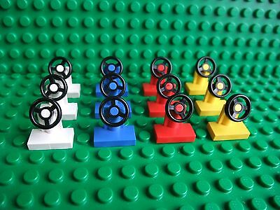 1X2 LEGO STEERING WHEELS - 12 PACK - RED WHITE BLUE YELLOW - CAR TRUCK VEHICLE