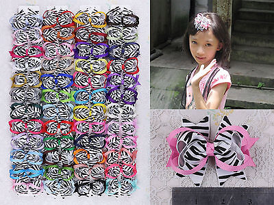 "Wholesale 48 girl baby toddler 3"" boutique Zebra Hair Bow ribbon clips 169LV"
