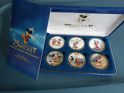 75 Years With Mickey Silver Proof (.999) Medallion Set ,  w/ Case ,Coa & Papers