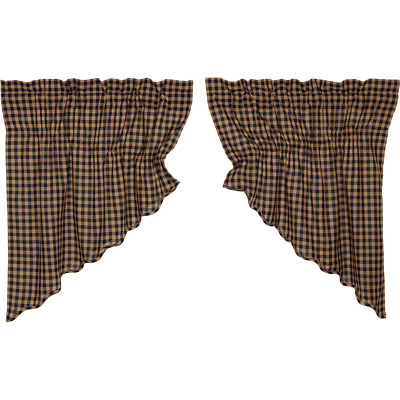 NAVY CHECK Scalloped Prairie Swag Set Rustic Primitive Khaki Country Lined VHC