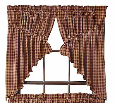 BURGUNDY CHECK Scalloped Prairie Swag Set Rustic Primitive Khaki Country Lined