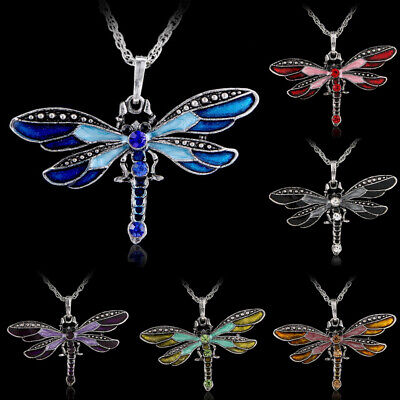 Handmade Dragonfly Charms Necklace Chain Crystal Rhinestone Wing Pendant Women