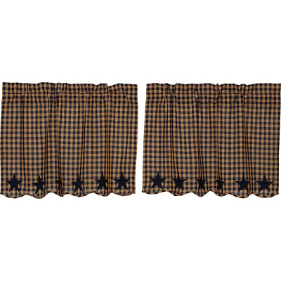 "NAVY STAR Scalloped Tier Set Rustic Plaid Khaki Applique Cafe Curtains 24"" VHC"
