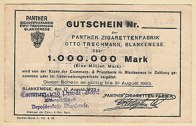 Hamburg Blankenese -Panther-Zigaretten- 1 Million Mark vom 17.08.1923