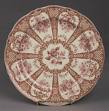 Red And White Porcelain Transferware Collectible Plate With Flower Pattern