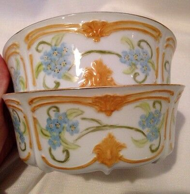 "Tirschenreuth Baronnesse 2 White Hand Painted Signed Bowls 5 1/2""x2"" Salad Soup"