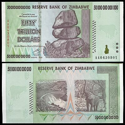 Zimbabwe 50 Trillion Dollar Banknote-Unc Paper Currency