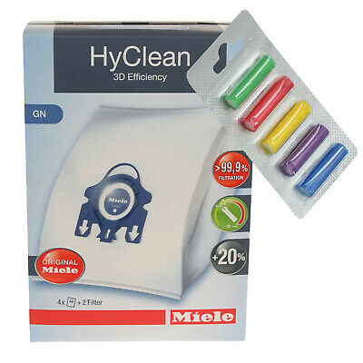 Genuine GN HyClean 3D Efficiency DustBags For Miele Vacuum Cleaners + Fresheners