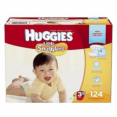 Huggies Little Snugglers Diapers, Size 3, 124 Count