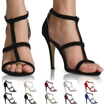 Womens Ladies High Heel Point Toe Stiletto Sandals Ankle Strap Shoes Size