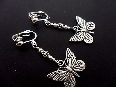 A Pair Tibetan Silver Dangly Butterfly   Clip On Earrings. New.
