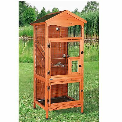 Durable Solid Pine Bird Cage Low Maintenance Parakeet, Finch other Small Birds