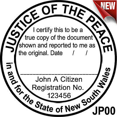 JP00 40mm Round JUSTICE OF THE PEACE NSW Custom Flash Stamp Self Inking