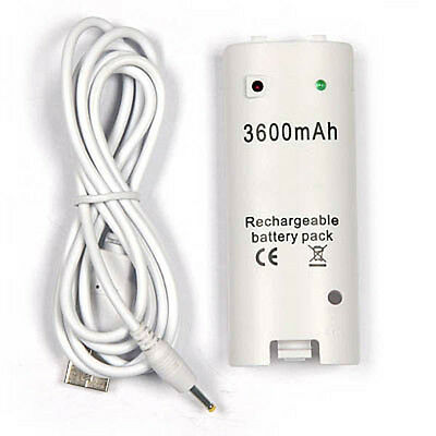 White 3600mAh Rechargeable Battery Pack for Nintendo Wii Controller       e4