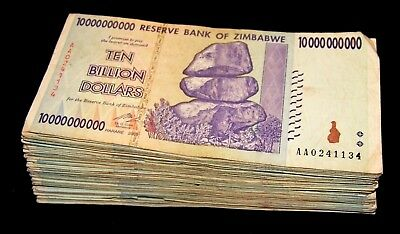 25 x Zimbabwe 10 billion Dollar banknotes 1/4 bundle-paper currency