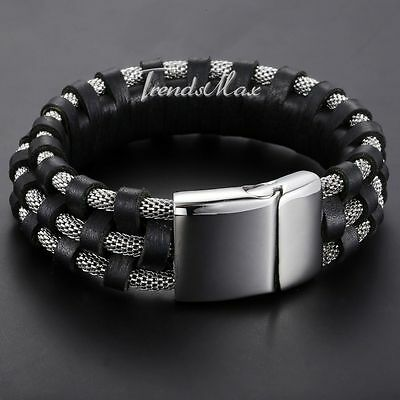 Mens Chain Braided Black Genuine Leather Wristband 316L Stainless Steel Bracelet