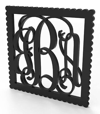 """3 Letter Vine Monogram Door or Wall Hanger 18"""" tall Custom Made and Painted."""