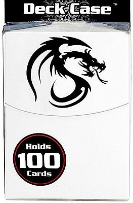 White 100 Card Deck Box with Divider and 100 Deck Guard Sleeves Protector Dragon