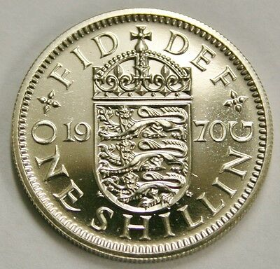 Mint Crisp Condition 1970 English Shilling Proof Coin from Set