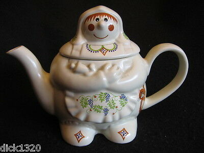 LOVELY 'BARLEY MOW' PATTERN TEAPOT WADE CERAMICS for BOOTS LTD 1990's MINT