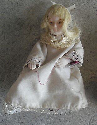 "Vintage 1970s Porcelain Cloth Blonde Girl Doll  5"" Tall"