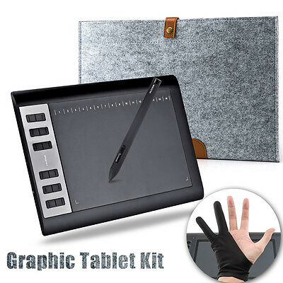 """Huion 1060 Pro+ Graphic Tablet 10"""" x 6.25"""" + Wool Liner Bag + Anti-fouling Glove"""