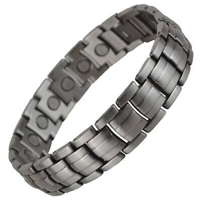 NEW Mens Stylish MAGNETIC BRACELET Single Row Magnet Gun Metal Colour Strong