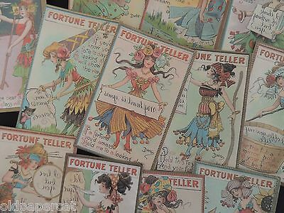Lot of 12 ... VINTAGE FORTUNE TELLER SET of Die Cuts for CRAFTS ~ H49 FREE SHIP