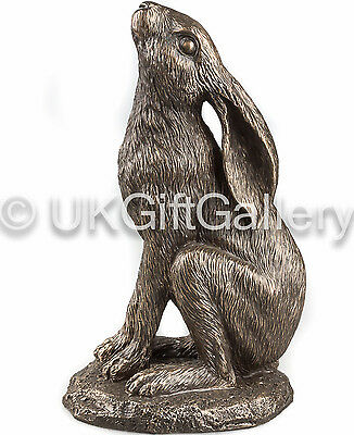 Moongazing Hare Sculpture by Veronese Studio in Cold Cast Resin Bronze New Boxed