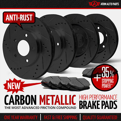 (FRONT & REAR KIT) BLACK Slotted & Drilled Rotors AND Carbon Metallic Brake Pads
