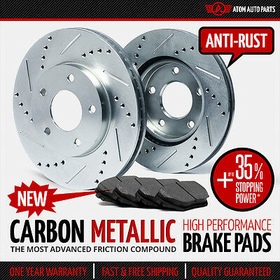 (FRONT KIT) (SILVER ZINC) Slotted Drilled Rotors AND Carbon Metallic Brake Pads
