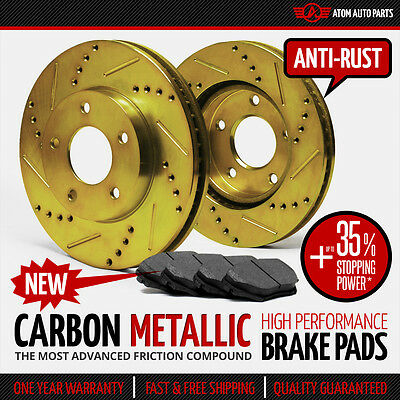 (FRONT KIT) (GOLD ZINC) Slotted & Drilled Rotors AND Carbon Metallic Brake Pads