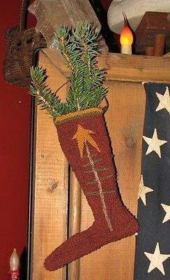 "Primitive Punch Needle Pattern ~  ""Elf Stocking"""