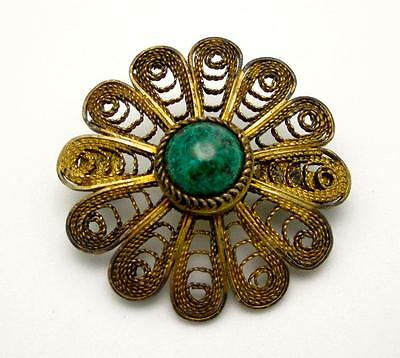 Vtg Gold over Sterling Silver 935 ELIAT Pin Brooch FILIGREE Signed Israel Eilat