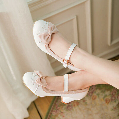 Hot Womens Mary Jane Bowknot High Cuban Heel New Fashion Sexy Court Pump Shoes