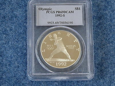 1992-S Olympic Silver Dollar PCGS PR69DCAM Gem Proof B7663