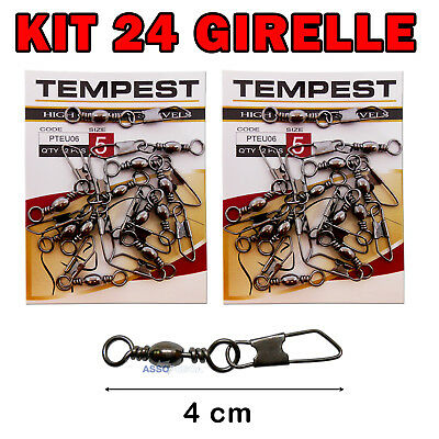 Kit 24 Girelle A Barile Brunite N. 5 Con Moschettone Tempest Pteu06