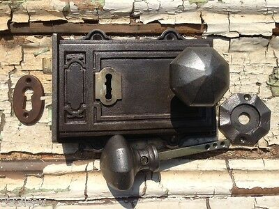 Victorian Style Davenport Cast Iron & Brass Rim Lock ~ Door knobs & Escutcheon