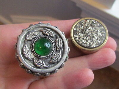 2 Vintage Damascene Brass & Silver Green Glass Pill Boxes marked Foreign