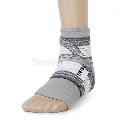 1x Ankle Foot Elastic Compression Wrap Support Sleeve + Bandage Brace Gray